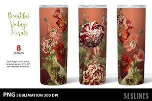 Skinny Tumbler Sublimation PNGs - Vintage Flower Set