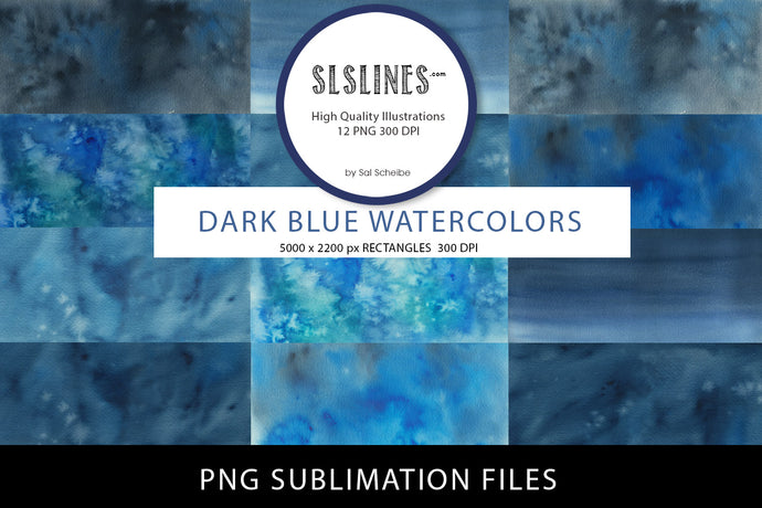 Watercolor PNG Sublimations Dark Blue Rectangles