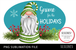 Gnome Christmas in Green PNG sublimation