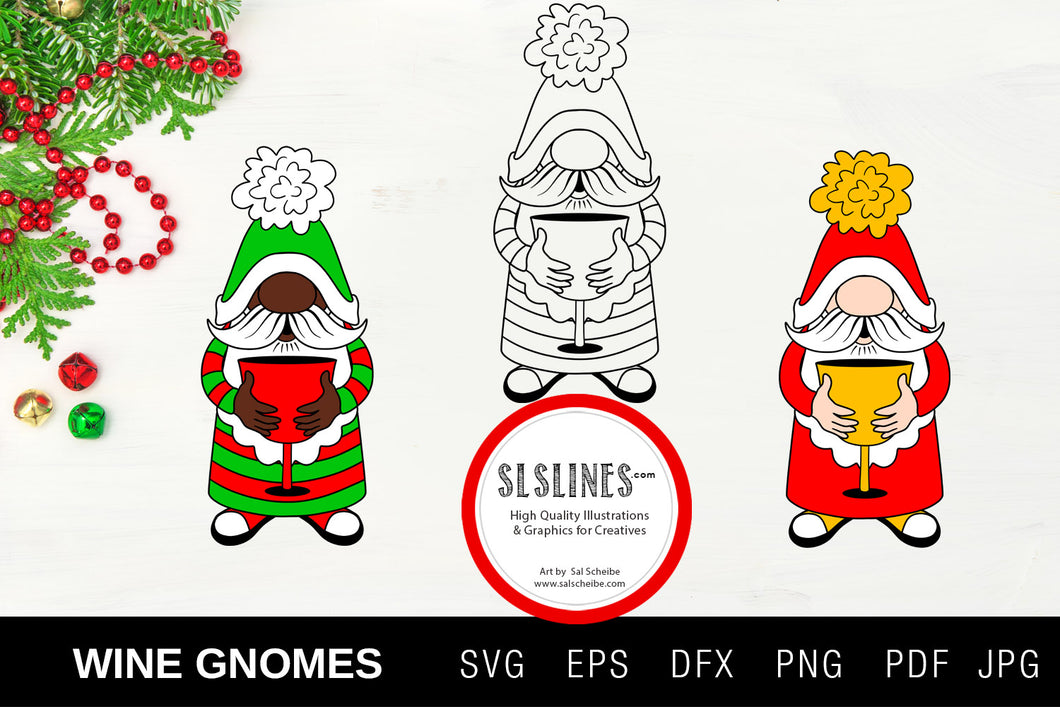 Christmas Gnome Wine Drinkers SVG