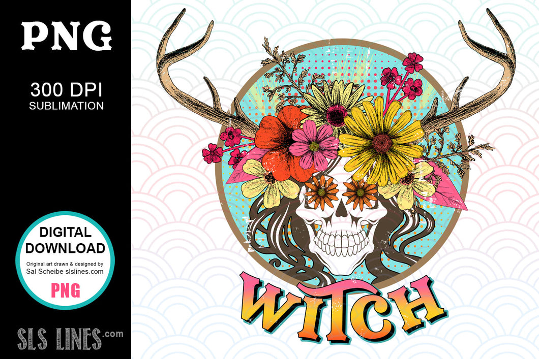 Witch Flower Skull Sublimation - Wicca PNG