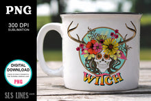 Load image into Gallery viewer, Witch Flower Skull Sublimation - Wicca PNG