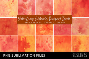 Sublimation Backgrounds - Watercolor Squares in Yellow & Orange