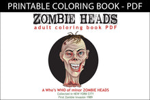 Load image into Gallery viewer, Printable Coloring Book: Zombie Heads, 12 gross pages