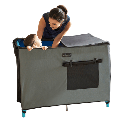 SnoozeShade for Pack n Plays | Breathable blackout blind, sleep pod & crib net