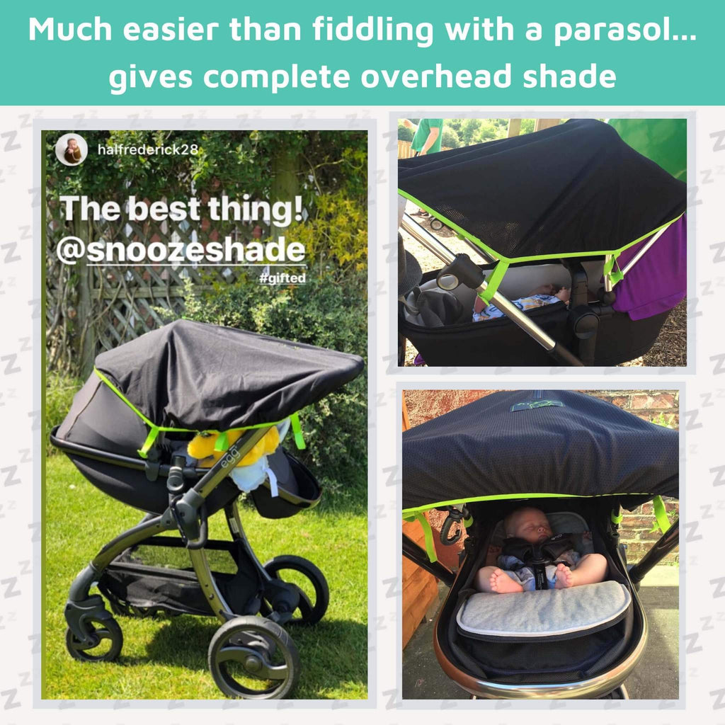 SnoozeShade Original (0-6m) | Universal pram sun cover | Blocks 99% of UV