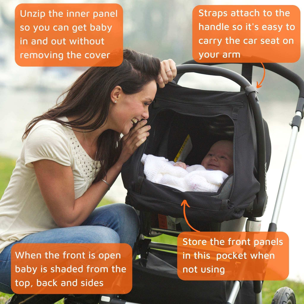 SnoozeShade Baby Car Seat Sunshade (0-6m) | Blocks up to 99% of UV | Gives 360-degree protection - SnoozeShade UK