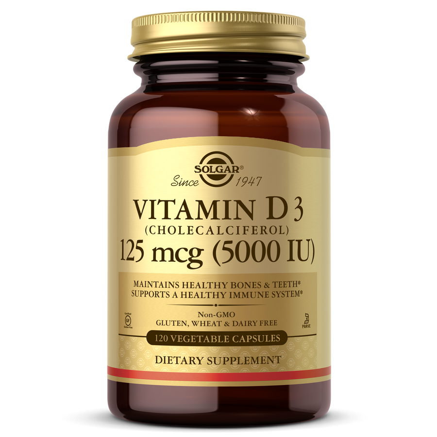 Solgar®'s Vitamin D3 (Cholecalciferol) 125 mcg (5,000 IU) Vegetable Capsules