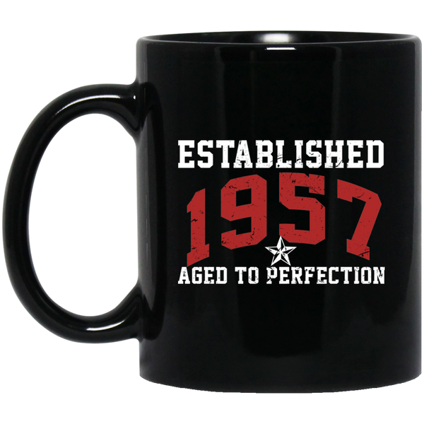Established In 1957 Perfectly Aged Funny 60th Birthday Mug