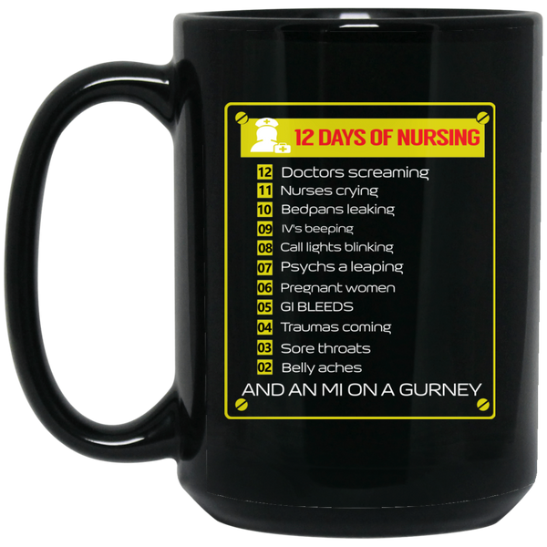The 12 Days Of Nursing Christmas GifMug Fun Nurse Mug Happy Holidays Mug