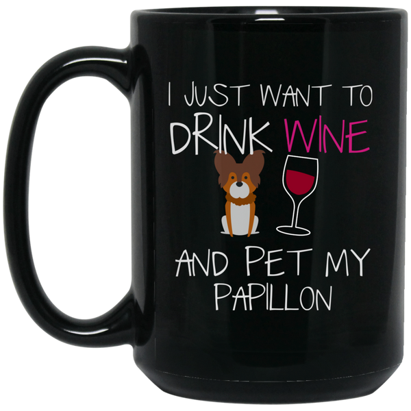 Papillon Dog Breed Mug Gift Drink Wine And Pet My Dog