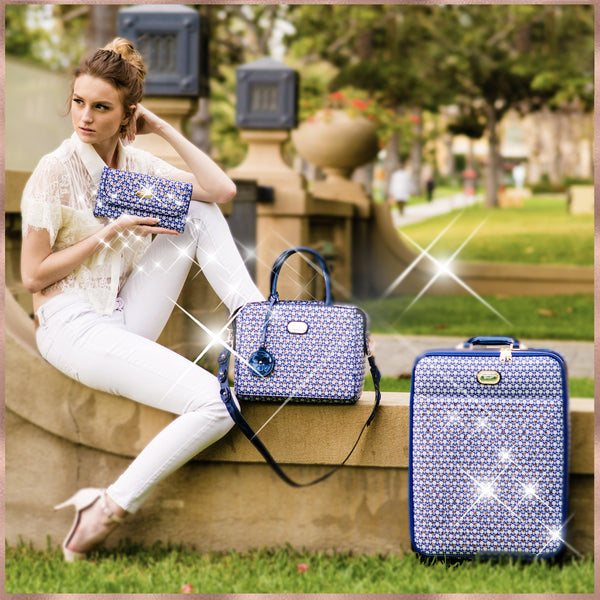 Galaxy Stars Clover 3PC Set | Crystal Bag & Spinner Carry-On