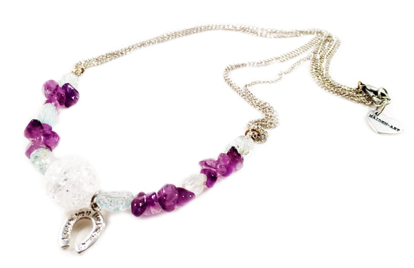 Aquamarine, White Onyx and Amethyst Stones Silver Plated Choker Necklace With Horseshoe Charm.