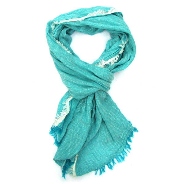 Turkish Cotton Blend Fringed Hobo Scarf Blue