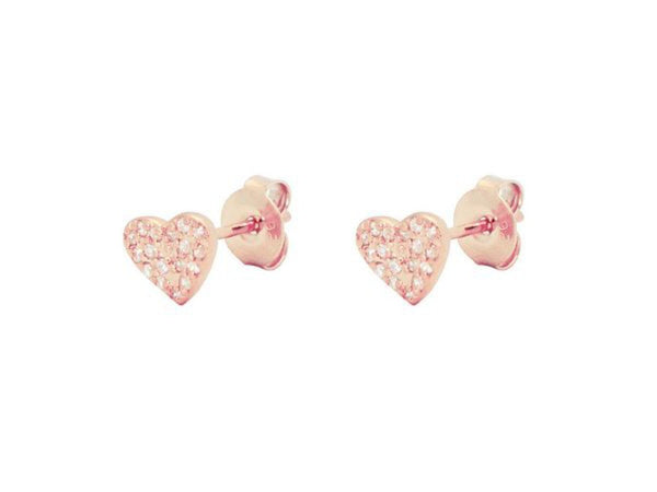Rose Pave CZ Heart Stud Earrings