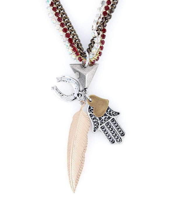 Choker Necklace With Lucky Charm, Hamsa Pendant, Feather and Horseshoe.