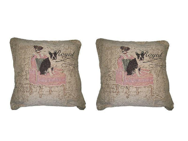 DaDa Bedding Set of Two Royal Dogs Bulldog Beagle Throw Pillow Covers W/ Inserts, 2-Pcs, 18""