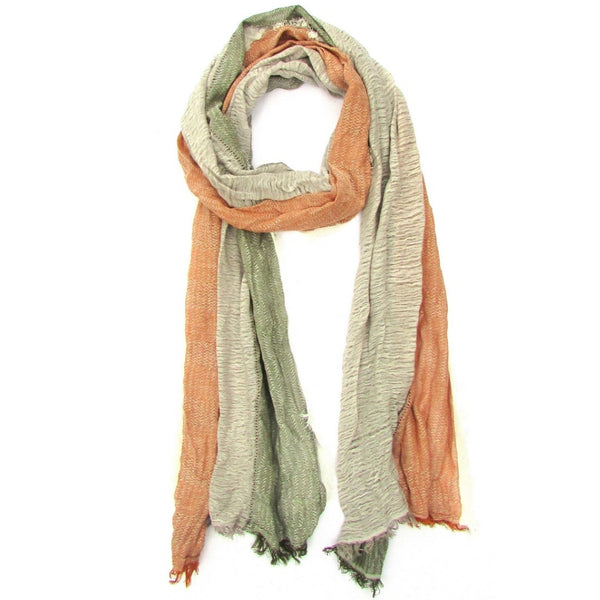 Turkish Cotton Blend Fringed Hobo Scarf Tobacco/Green/White
