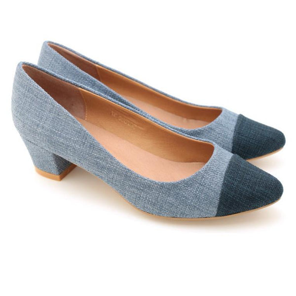 Two Tone Pointed Toe Pumps (Blue)
