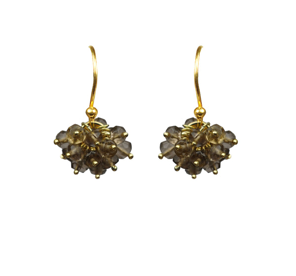Smoky Topaz Cluster Vermeil Earrings