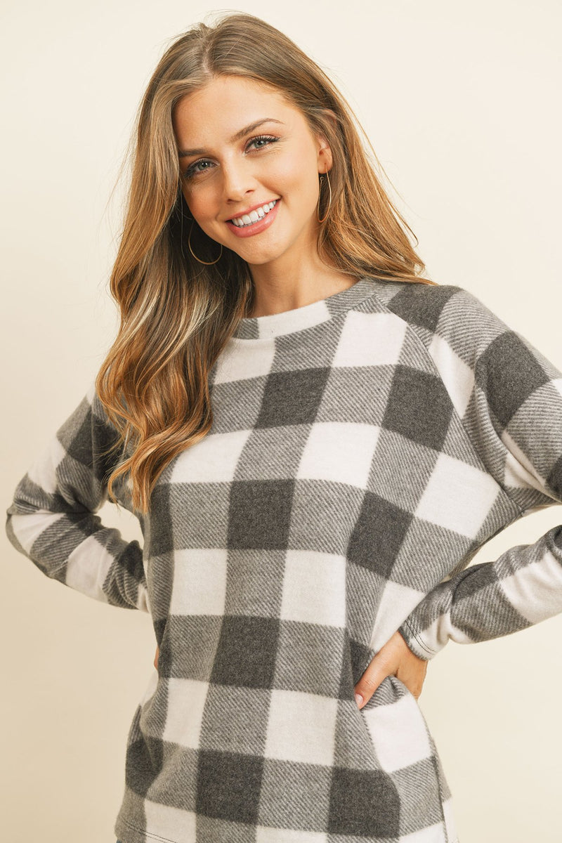 Terry Brushed Plaid Pullover