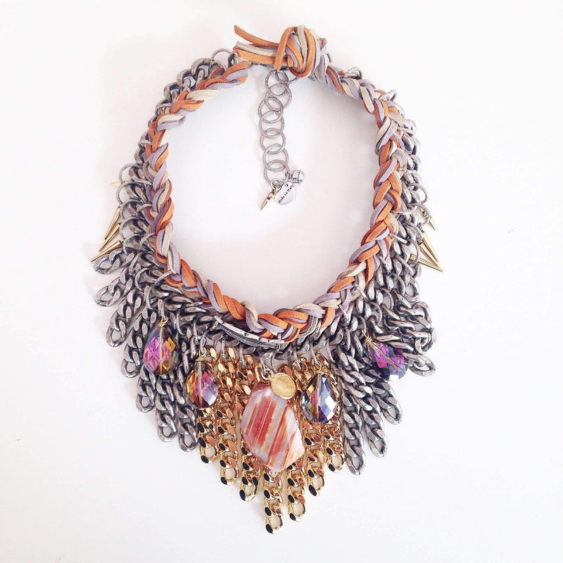 Orange Boho Chic Statement Necklace