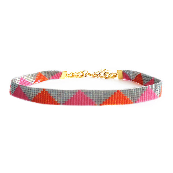 Shine Choker Necklace - Pink / Blue / Silver