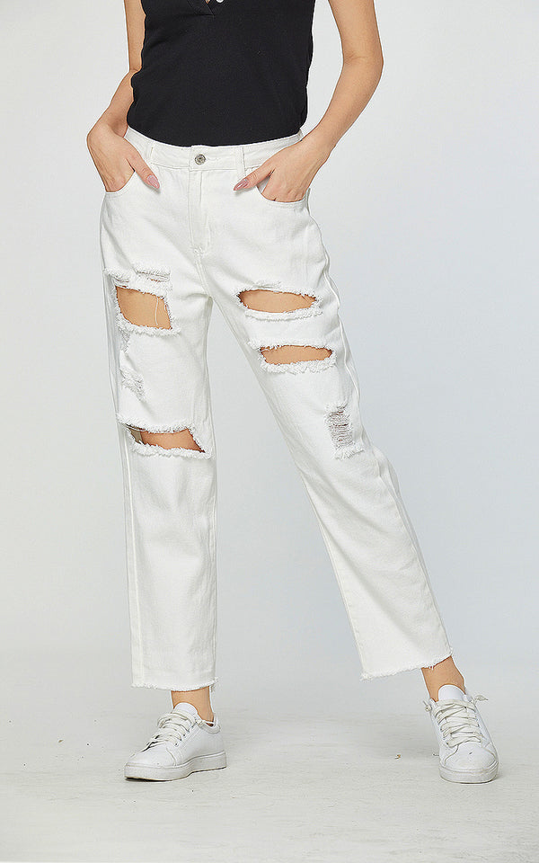 Destroyed Straight White Jeans