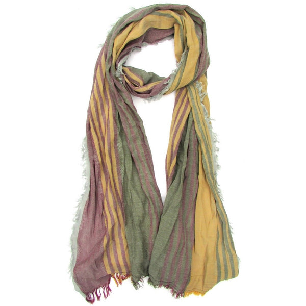 Turkish Cotton Blend Fringed Hobo Scarf Burgundy/Mustard/Green