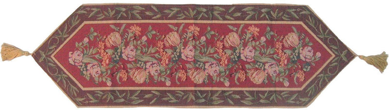 DaDa Bedding Romantic Floral Field of Roses Burgundy Red Tapestry Table Runner (5594)