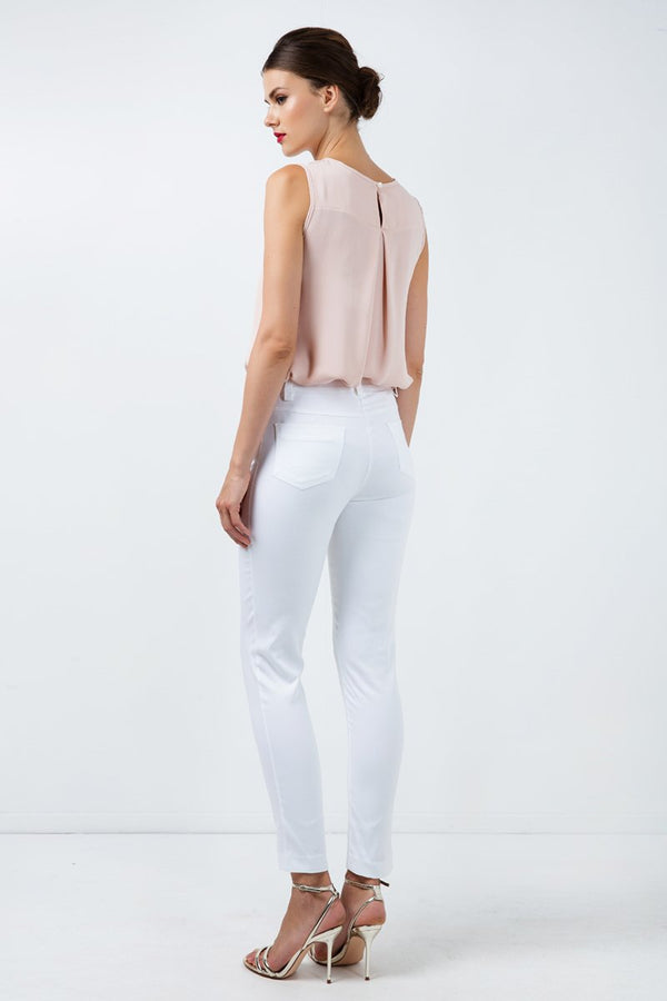 Long Fitted Gabardine Pants in White