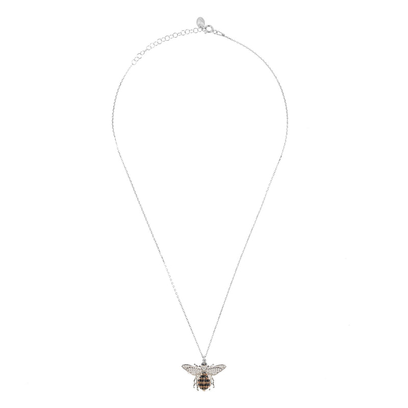 Honey Bee Pendant Necklace Silver
