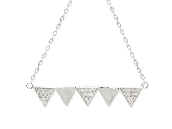 "Five Triangle Rotating Cubic Zirconia Pendant Necklace in Sterling Silver, 16"" + Extender"