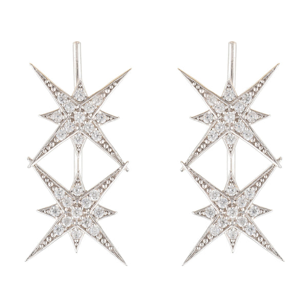 Star Burst Double Ear Climber Pair Silver