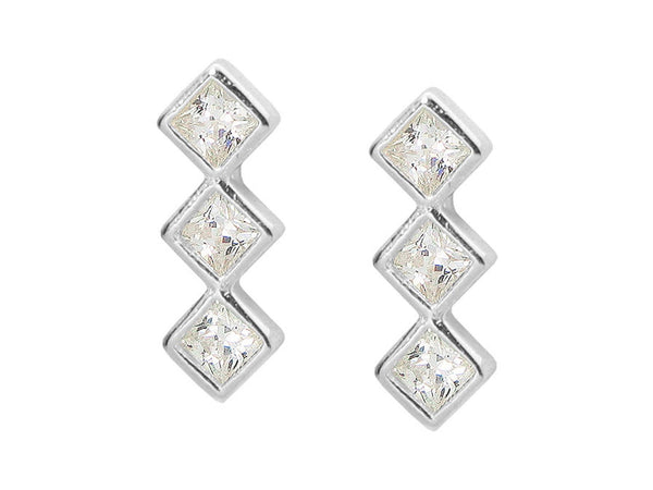 Sterling Silver Rhodium Plated Trio CZ Gemstone Shaped Stud Earrings