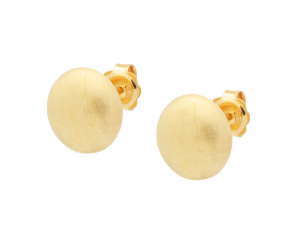 Sterling Silver Gold Plated  Flat Ball Stud Earrings 13 Mm Satin Finish