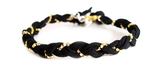 Black Braided Suede Crystal Choker. Braided Vegan Suede With 18K Gold Plated Swarovski Crystals Chain and Silver Plated