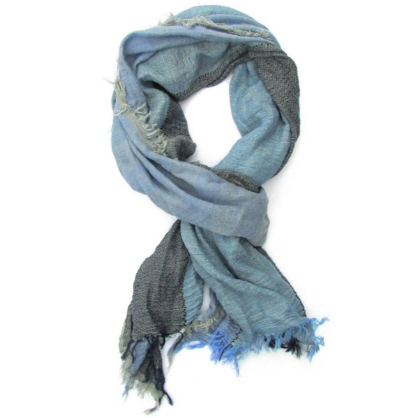 Turkish Cotton Blend Fringed Hobo Scarf Blue Degraded