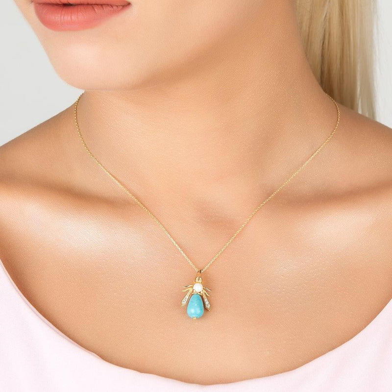 Turquoise & Pearl Gemstone Bee Pendant Necklace Gold