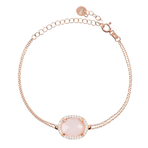 Beatrice Oval Gemstone Bracelet Rose Gold Rose Quartz