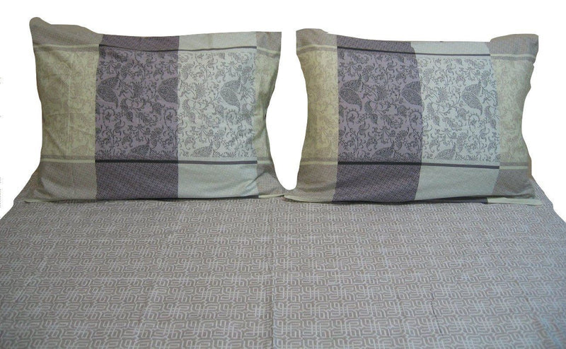 DaDa Bedding Jacquard Grey Floral Paisley Flat Sheet & Pillow Cases Set (FS8222)