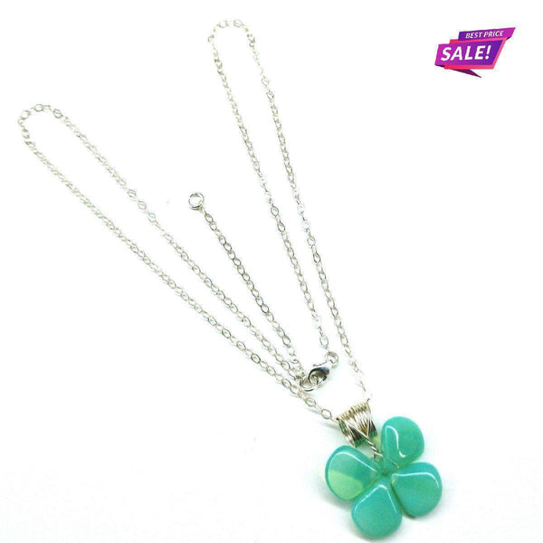 Mint Green Beaded Sterling Silver Clover Necklace