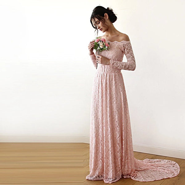 Pink Off-The-Shoulder Floral Lace Long Sleeve Gown With Train 1148