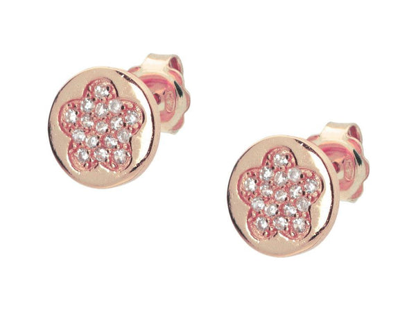 Silver Pink Plated Cz Pave Flower 8mm Circle Stud Earrings