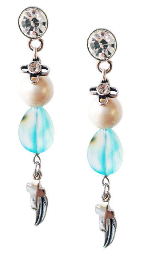 Dangle and Drop Earrings With Blue Agate Stones, Crosses, Swarovski Crystals and Charms. Boho Chic Earrings, Boho Chic J