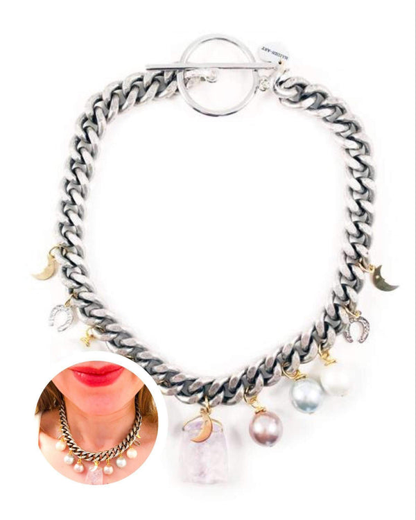 Rose Quartz Statement Choker With Pearls and Charms. Perfect for Parties, Summer Time and Gift for Her.