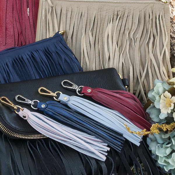 Fringe Power Leather Bag Charm-Sapphire/Silver