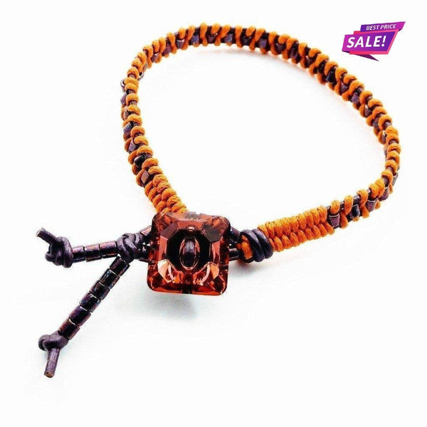 Orange Purple Braided Leather Crystal Button Bracelet