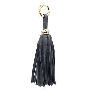 Leather Tassel - Charcoal/Gold