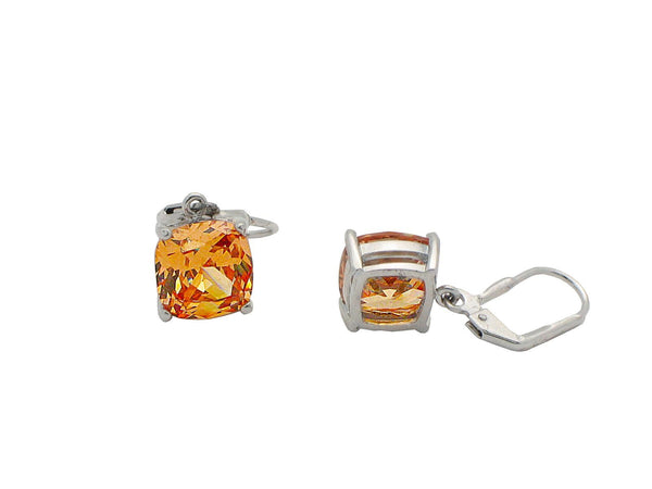 Orange Crystal French Clasp Earrings